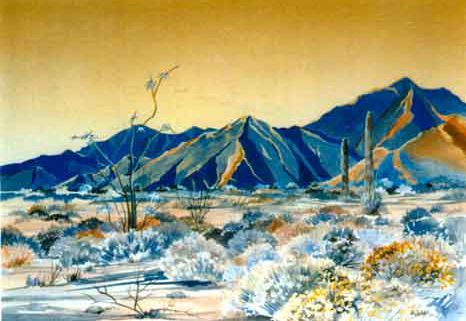 Mojave Desert Mountains watercolor painting
